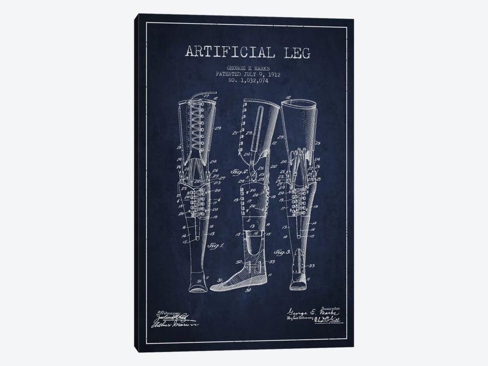 Artificial Leg Navy Blue Patent Blueprint by Aged Pixel 1-piece Canvas Art