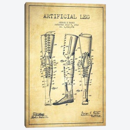 Artificial Leg Vintage Patent Blueprint Canvas Print #ADP1568} by Aged Pixel Art Print