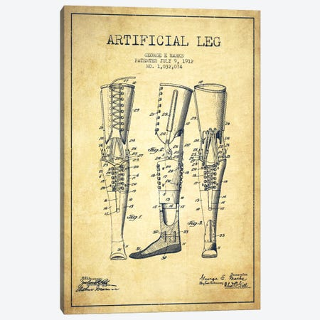 Artificial Leg Vintage Patent Blueprint Canvas Print #ADP1568} by Aged Pixel Art Print