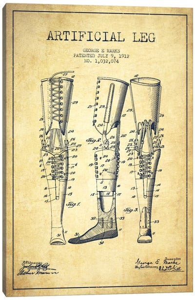 Artificial Leg Vintage Patent Blueprint Canvas Art Print