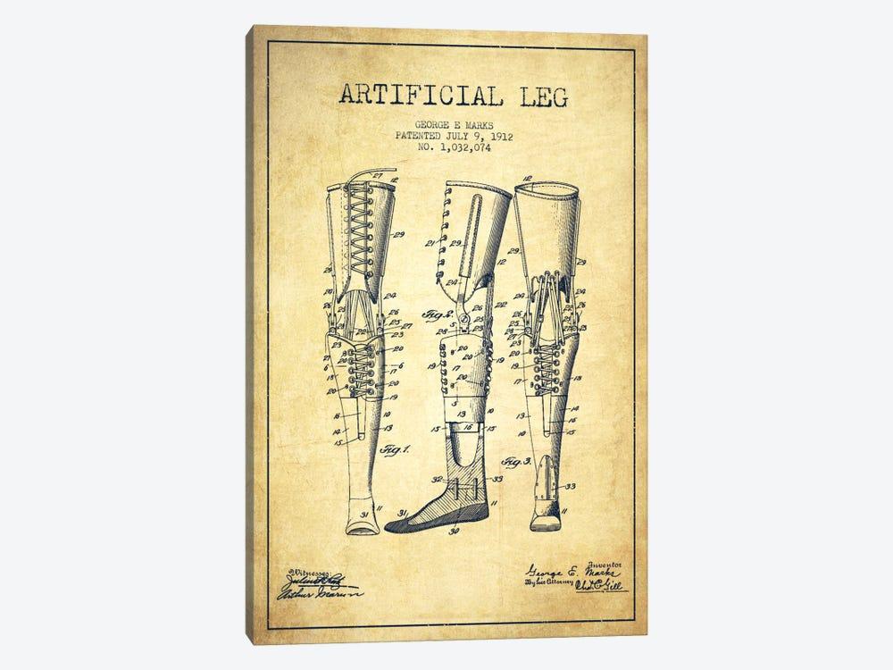 Artificial Leg Vintage Patent Blueprint by Aged Pixel 1-piece Canvas Artwork