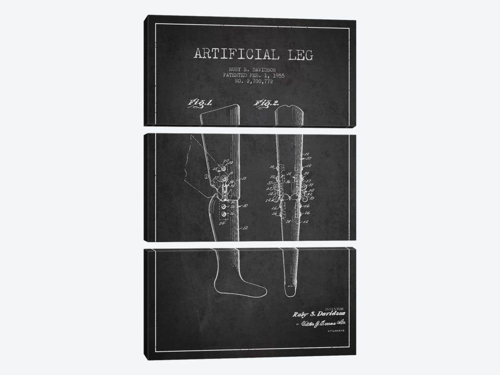 Artificial Leg Charcoal Patent Blueprint by Aged Pixel 3-piece Canvas Art Print