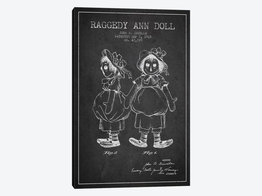 Raggedy Ann Dark Patent Blueprint by Aged Pixel 1-piece Canvas Print