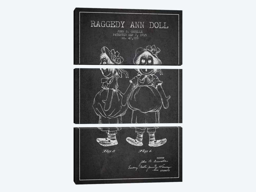 Raggedy Ann Dark Patent Blueprint 3-piece Canvas Art Print