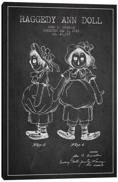 Raggedy Ann Dark Patent Blueprint Canvas Art Print