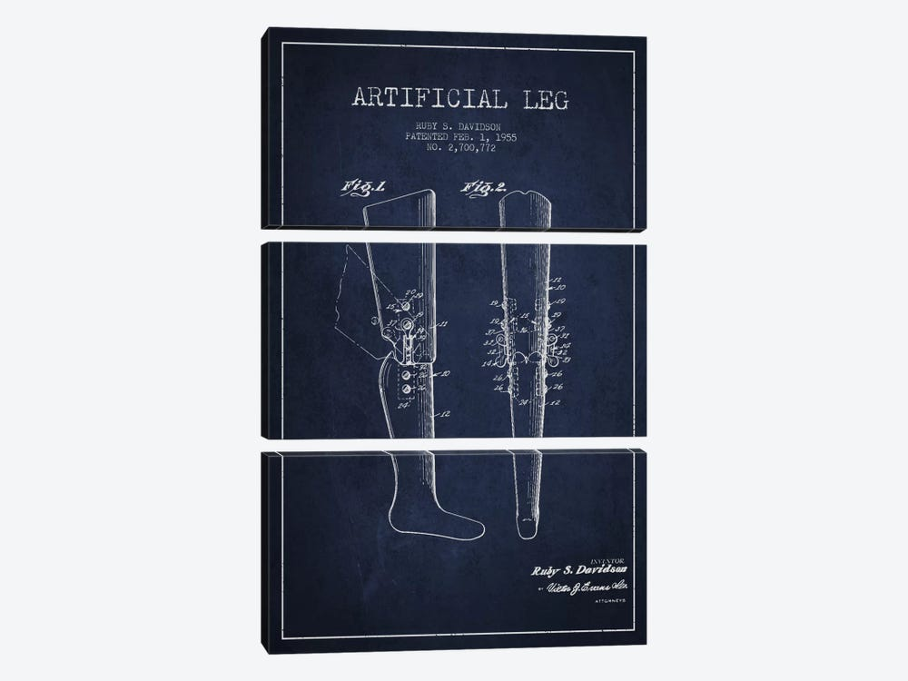 Artificial Leg Navy Blue Patent Blueprint by Aged Pixel 3-piece Canvas Art