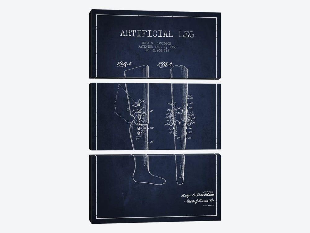 Artificial Leg Navy Blue Patent Blueprint by Aged Pixel 3-piece Canvas Art