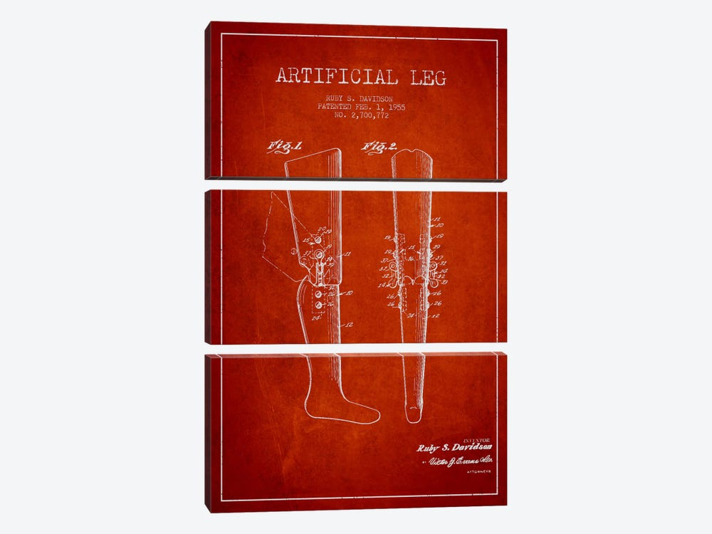 Artificial Leg Red Patent Blueprint by Aged Pixel 3-piece Canvas Print