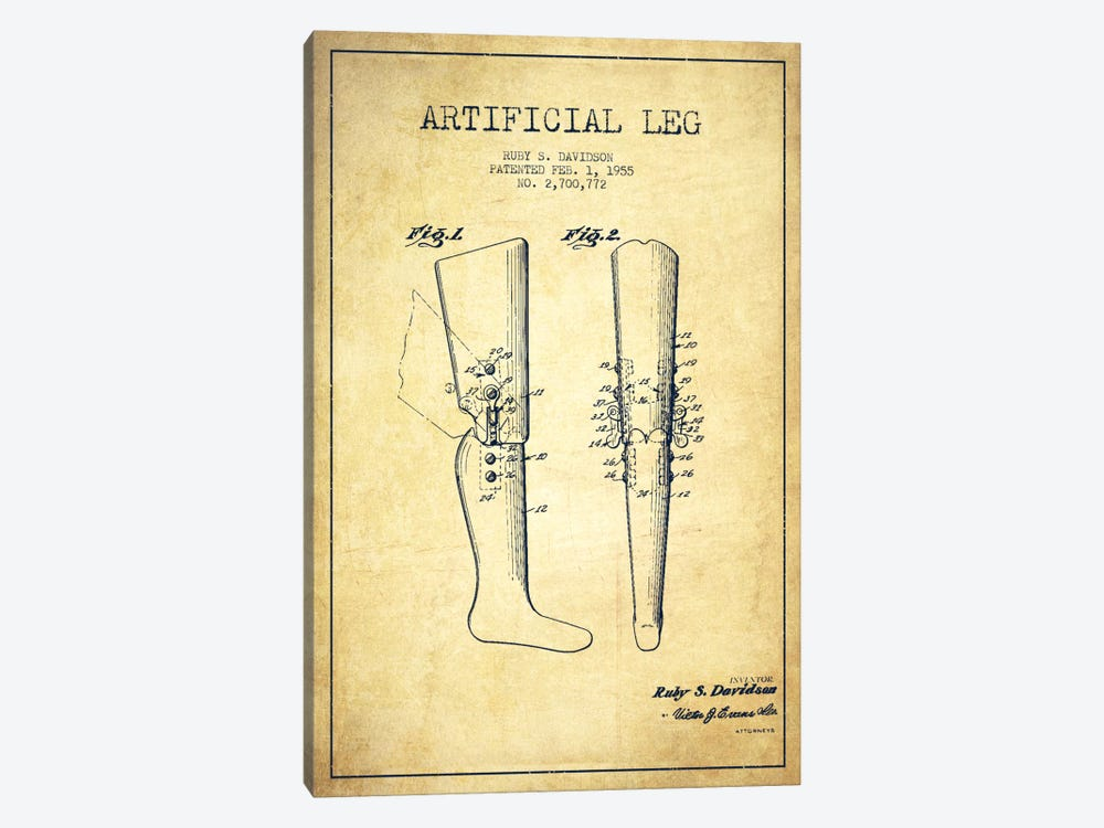 Artificial Leg Vintage Patent Blueprint by Aged Pixel 1-piece Canvas Artwork
