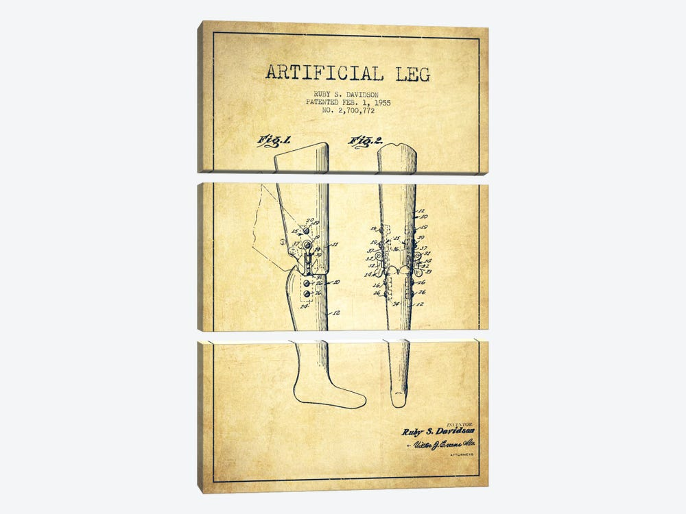 Artificial Leg Vintage Patent Blueprint by Aged Pixel 3-piece Canvas Artwork