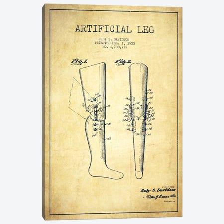 Artificial Leg Vintage Patent Blueprint Canvas Print #ADP1573} by Aged Pixel Canvas Art