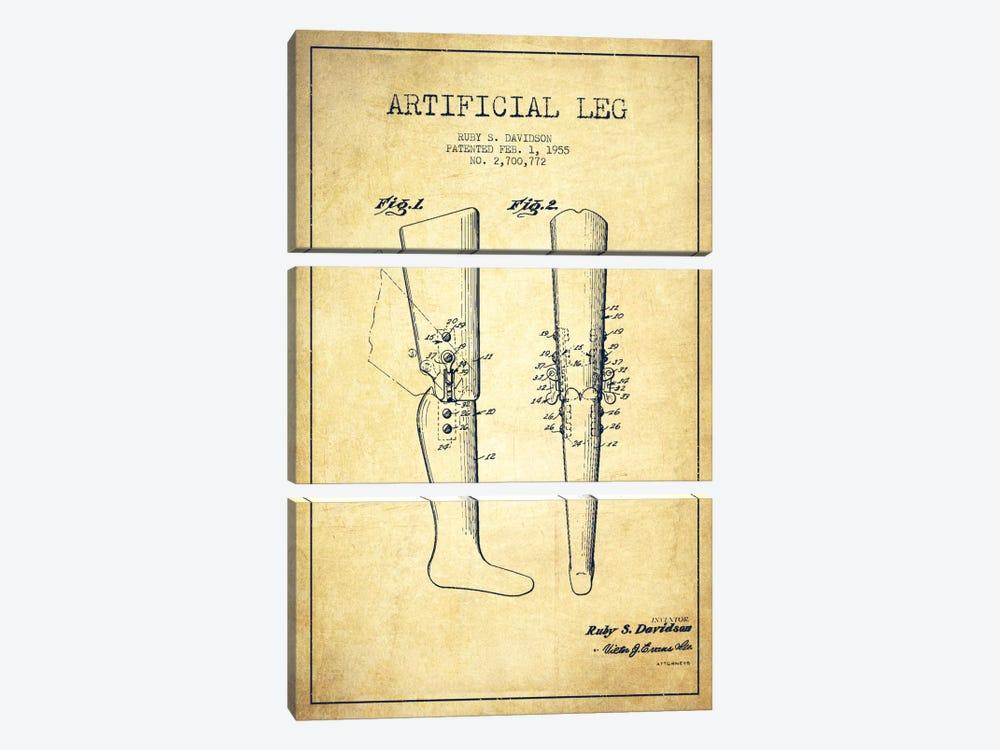 Artificial Leg Vintage Patent Blueprint by Aged Pixel 3-piece Canvas Artwork