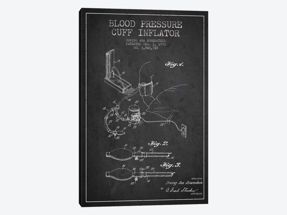 Blood Pressure Charcoal Patent Blueprint by Aged Pixel 1-piece Canvas Art Print