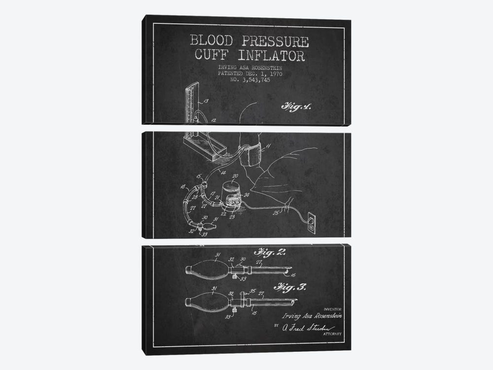 Blood Pressure Charcoal Patent Blueprint by Aged Pixel 3-piece Art Print