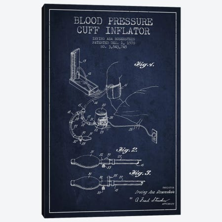 Blood Pressure Navy Blue Patent Blueprint Canvas Print #ADP1576} by Aged Pixel Art Print