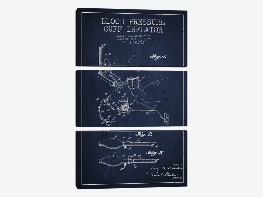 Blood Pressure Navy Blue Patent Blueprint by Aged Pixel 3-piece Canvas Print