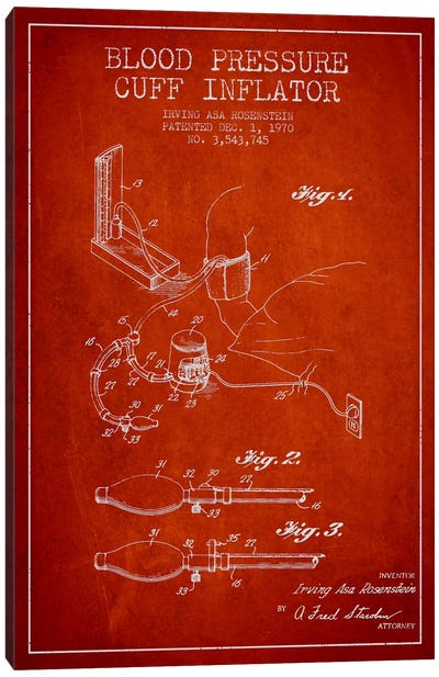 Blood Pressure Red Patent Blueprint Canvas Art Print