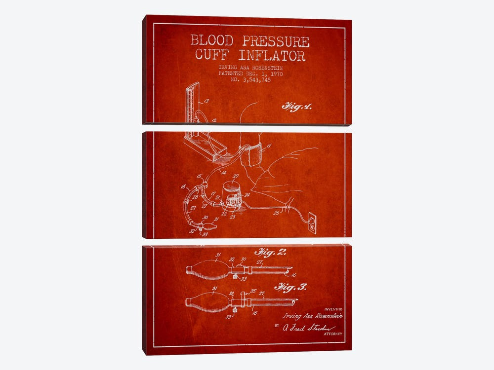 Blood Pressure Red Patent Blueprint by Aged Pixel 3-piece Canvas Artwork
