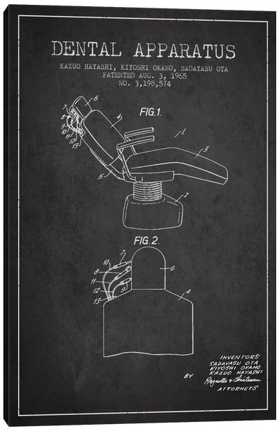 Dental Apparatus Charcoal Patent Blueprint Canvas Art Print