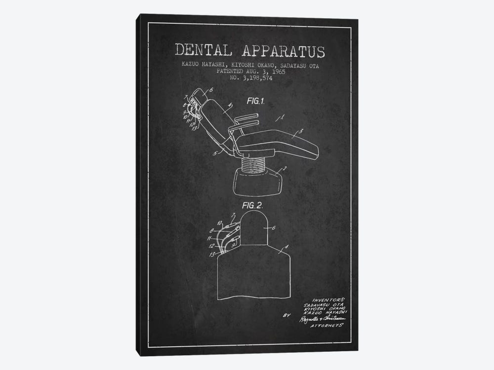 Dental Apparatus Charcoal Patent Blueprint by Aged Pixel 1-piece Canvas Art