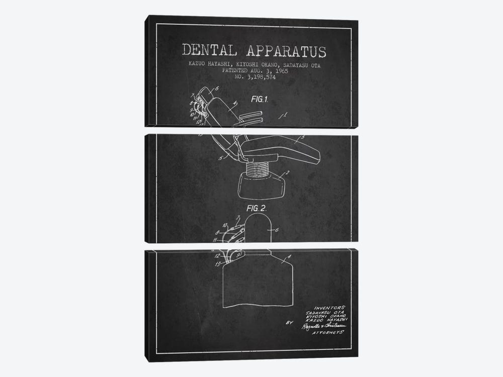 Dental Apparatus Charcoal Patent Blueprint by Aged Pixel 3-piece Canvas Art