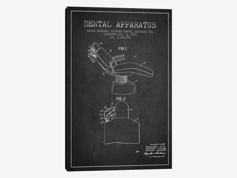Dental Apparatus Charcoal Patent Blueprint by Aged Pixel 1-piece Canvas Art