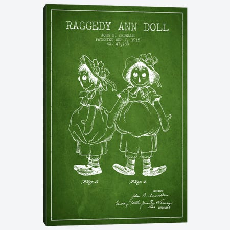 Raggedy Ann Green Patent Blueprint Canvas Print #ADP157} by Aged Pixel Canvas Wall Art
