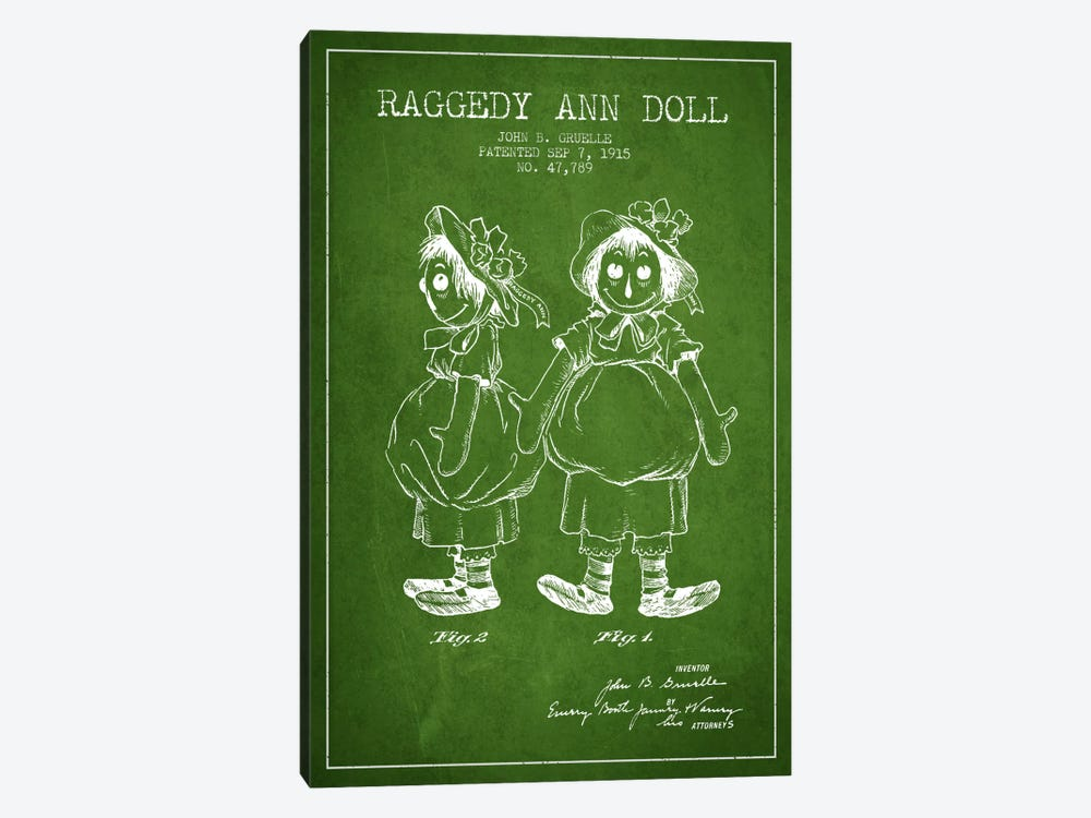 Raggedy Ann Green Patent Blueprint by Aged Pixel 1-piece Canvas Artwork