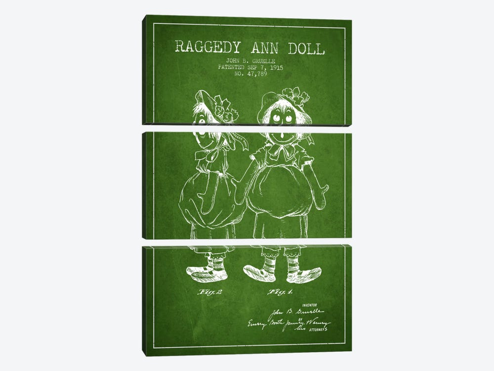 Raggedy Ann Green Patent Blueprint by Aged Pixel 3-piece Canvas Art