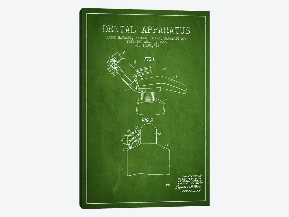 Dental Apparatus Green Patent Blueprint by Aged Pixel 1-piece Canvas Wall Art