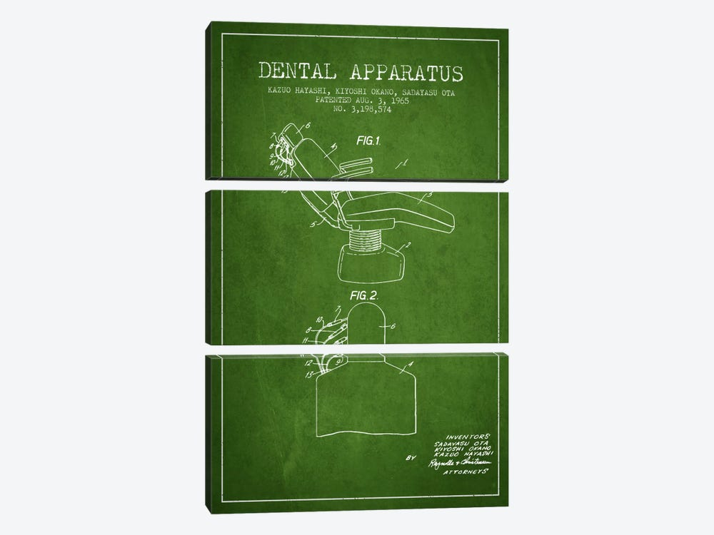 Dental Apparatus Green Patent Blueprint by Aged Pixel 3-piece Canvas Art