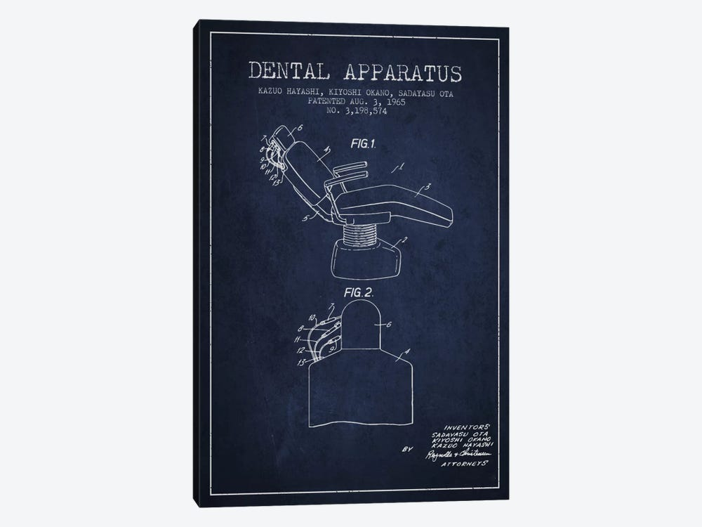 Dental Apparatus Navy Blue Patent Blueprint by Aged Pixel 1-piece Canvas Art Print