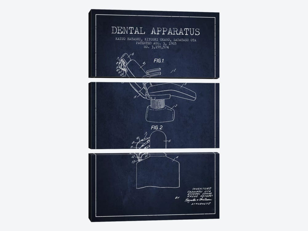 Dental Apparatus Navy Blue Patent Blueprint by Aged Pixel 3-piece Canvas Print