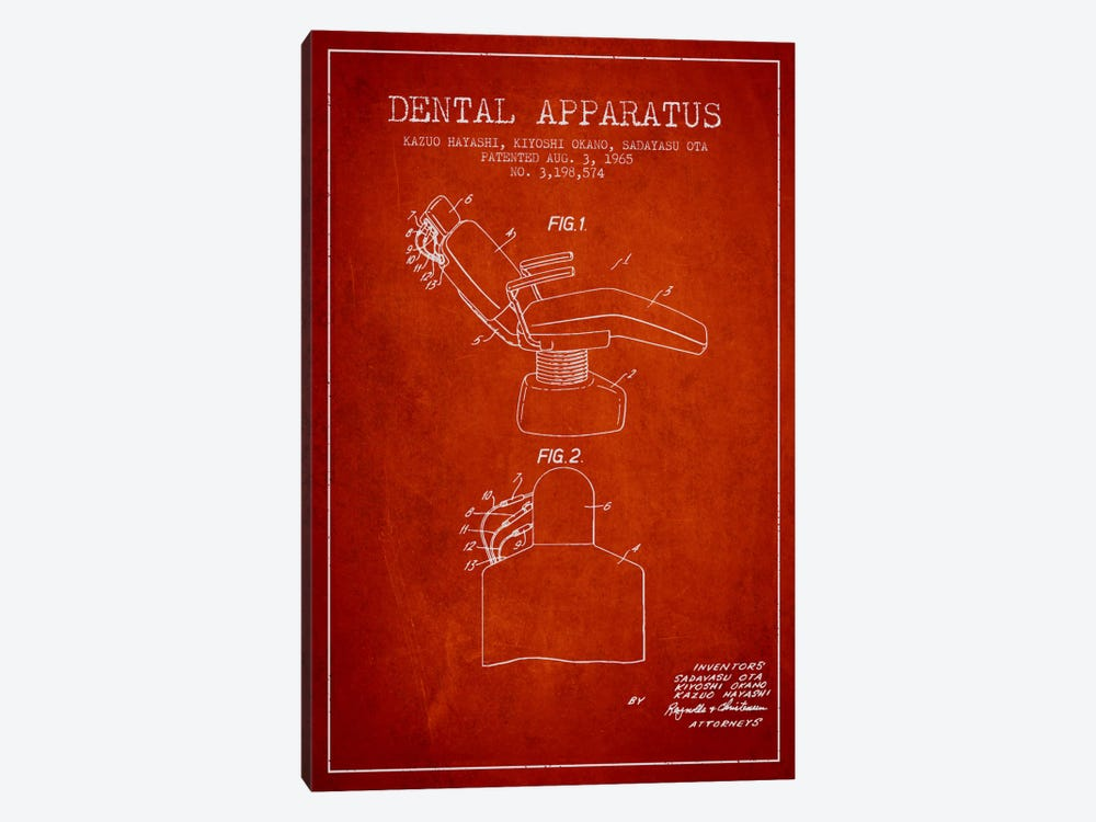 Dental Apparatus Red Patent Blueprint 1-piece Canvas Artwork