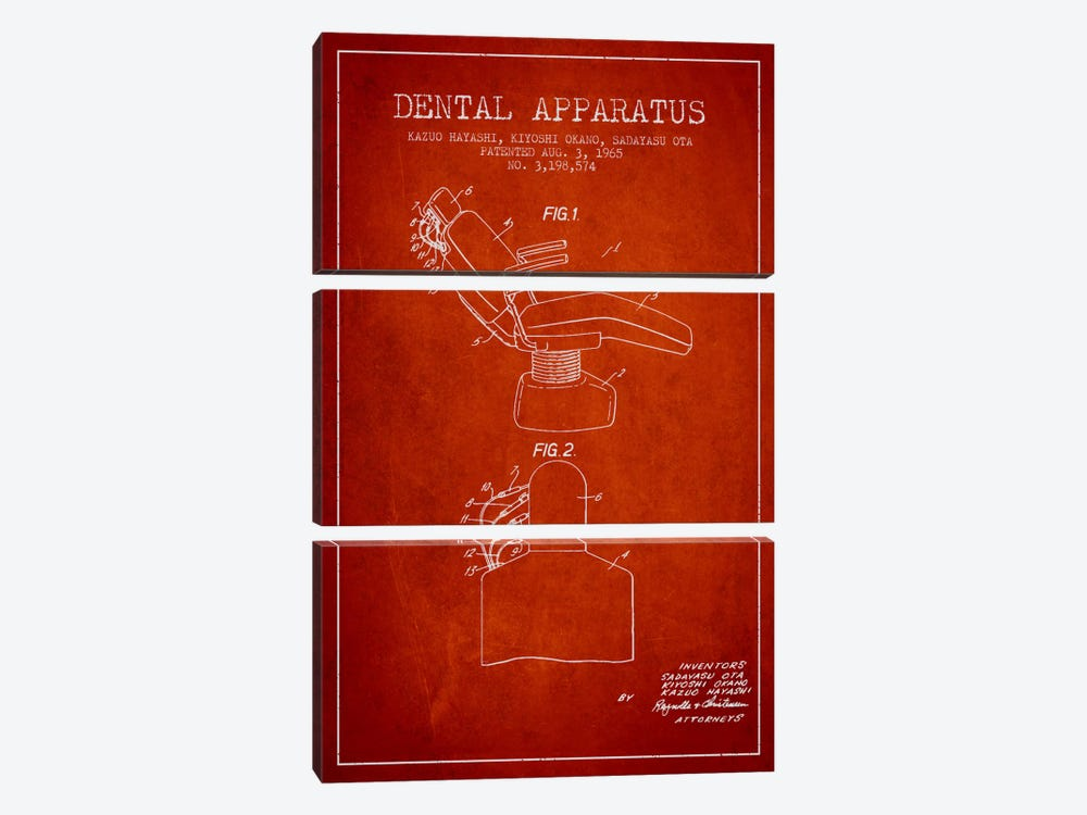 Dental Apparatus Red Patent Blueprint 3-piece Canvas Wall Art