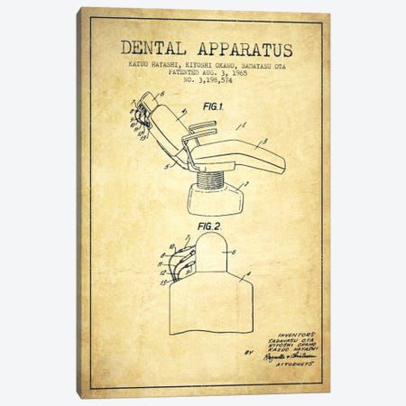 Dental Apparatus Vintage Patent Blueprint Canvas Print #ADP1583} by Aged Pixel Canvas Print