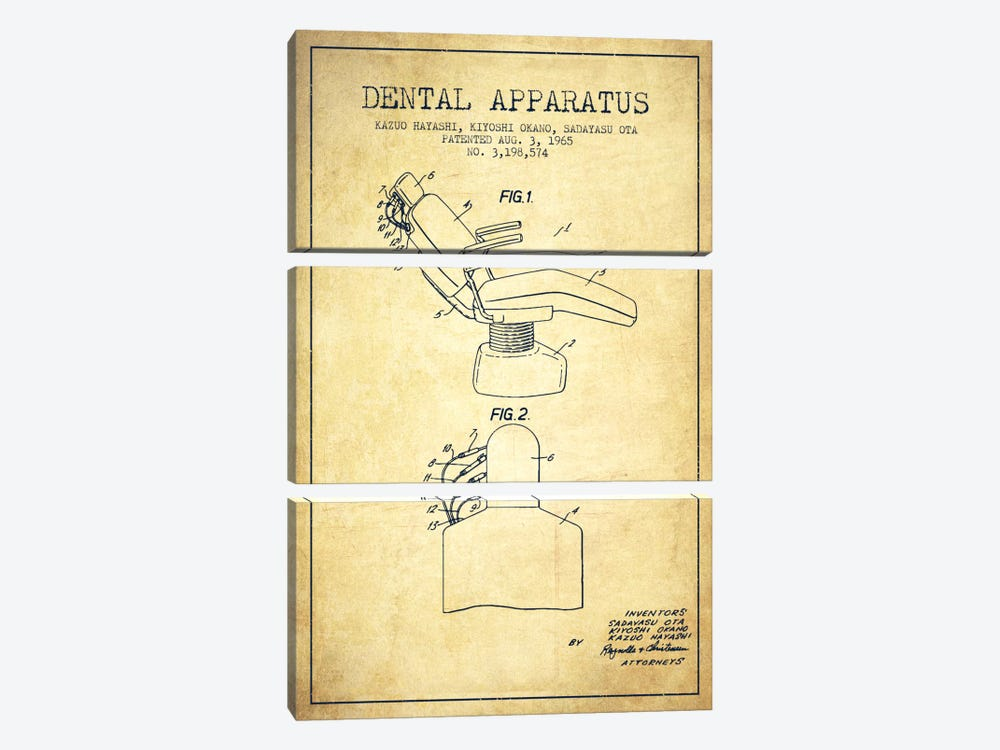 Dental Apparatus Vintage Patent Blueprint by Aged Pixel 3-piece Canvas Print