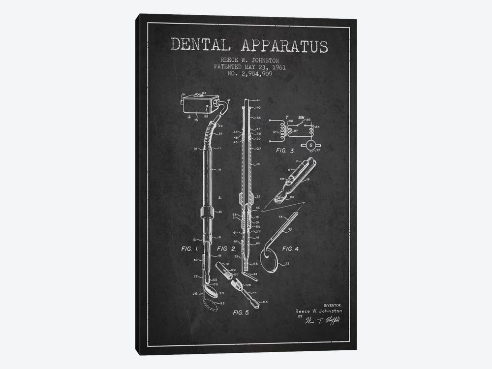 Dental Apparatus Charcoal Patent Blueprint by Aged Pixel 1-piece Canvas Artwork