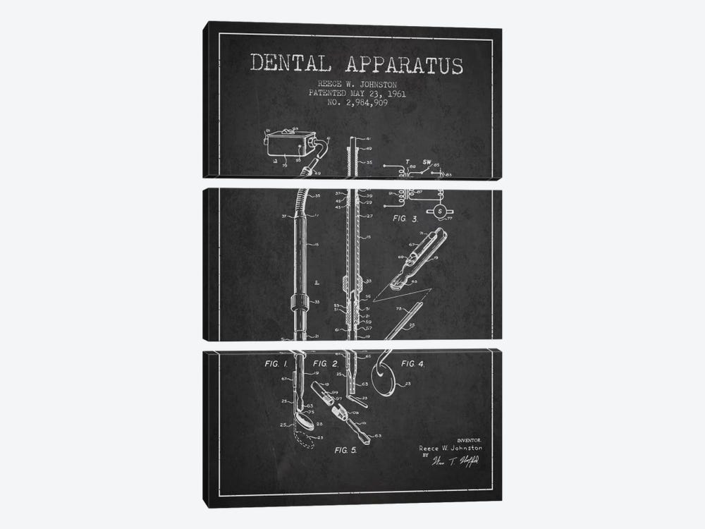 Dental Apparatus Charcoal Patent Blueprint by Aged Pixel 3-piece Canvas Wall Art