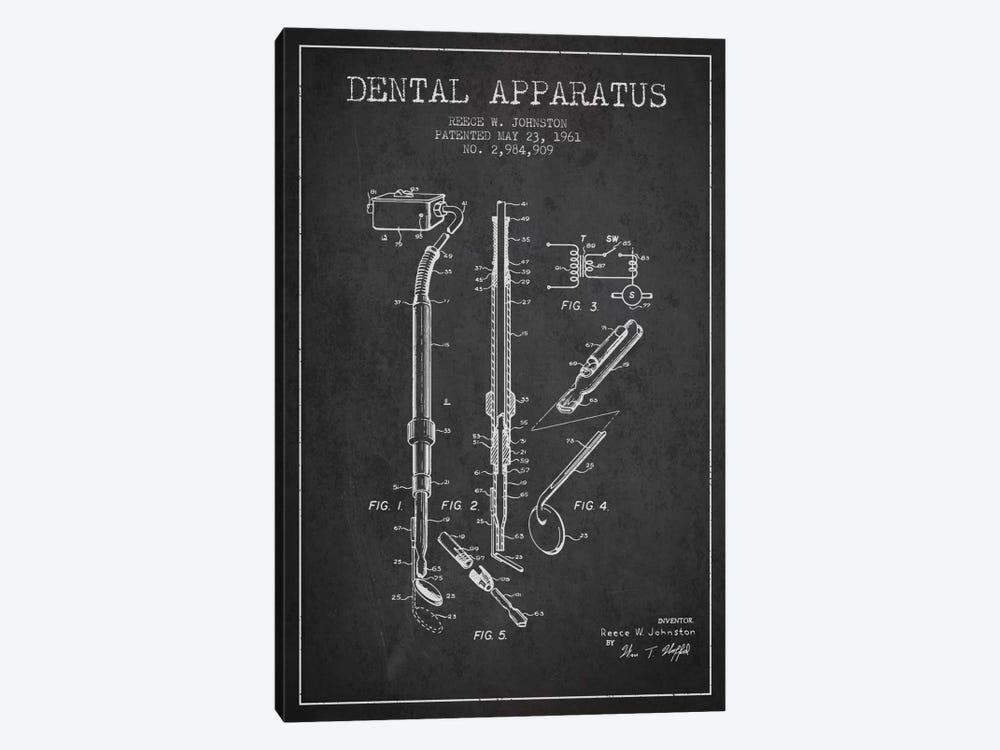 Dental Apparatus Charcoal Patent Blueprint by Aged Pixel 1-piece Canvas Artwork