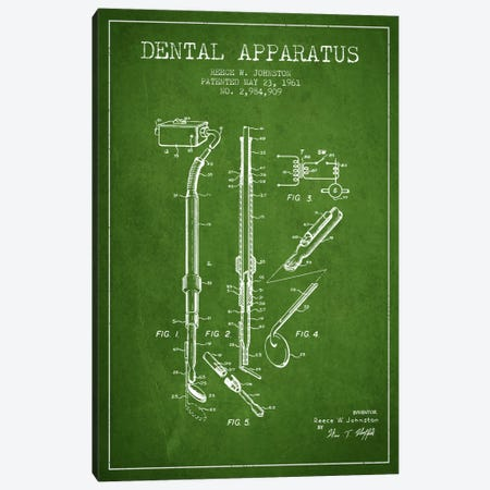 Dental Apparatus Green Patent Blueprint Canvas Print #ADP1585} by Aged Pixel Canvas Art