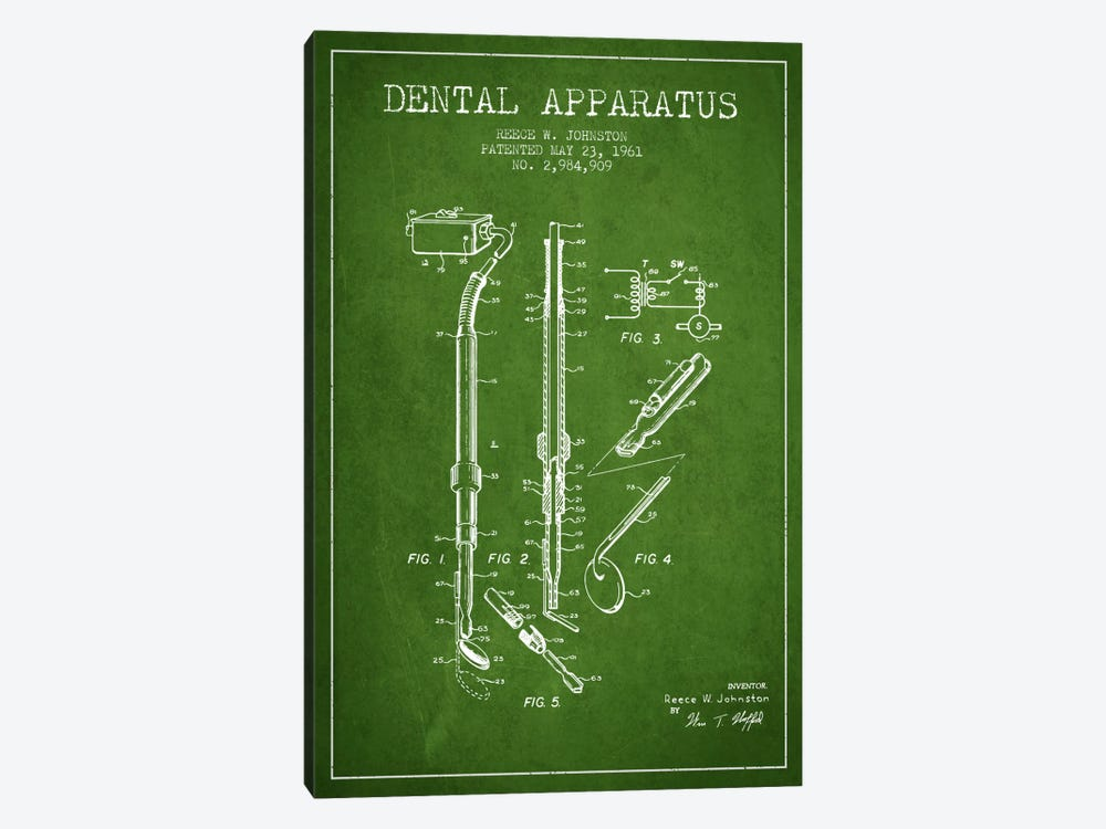 Dental Apparatus Green Patent Blueprint by Aged Pixel 1-piece Canvas Print