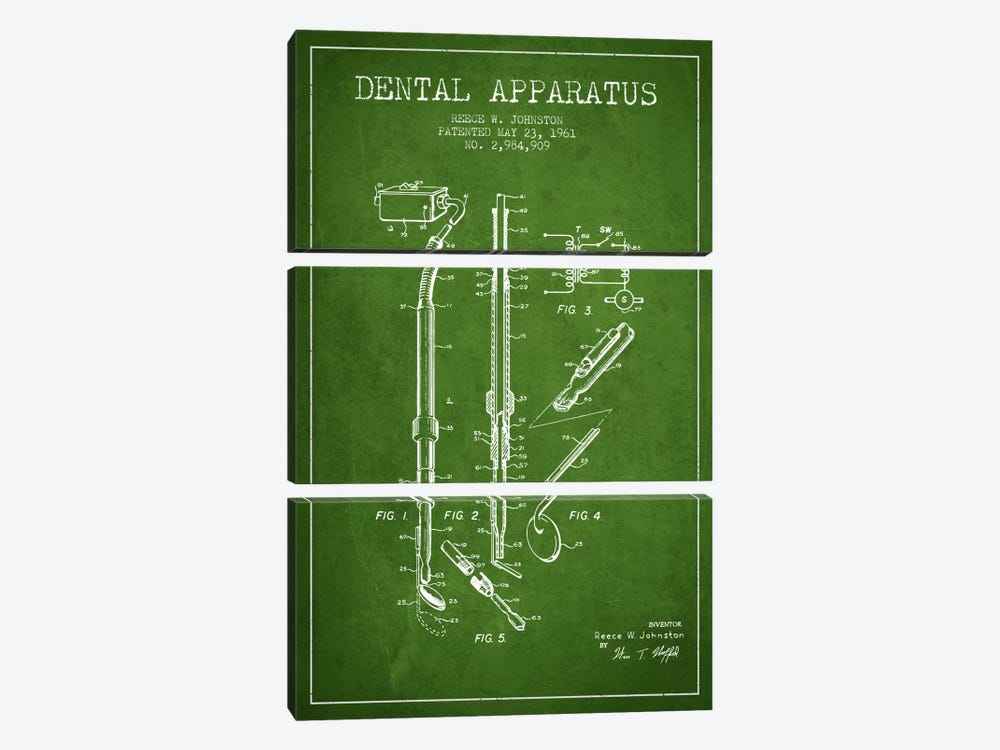 Dental Apparatus Green Patent Blueprint by Aged Pixel 3-piece Art Print