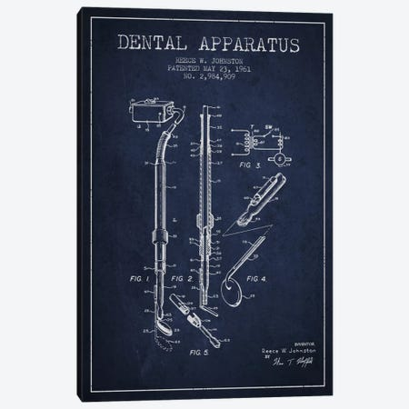 Dental Apparatus Navy Blue Patent Blueprint Canvas Print #ADP1586} by Aged Pixel Canvas Art