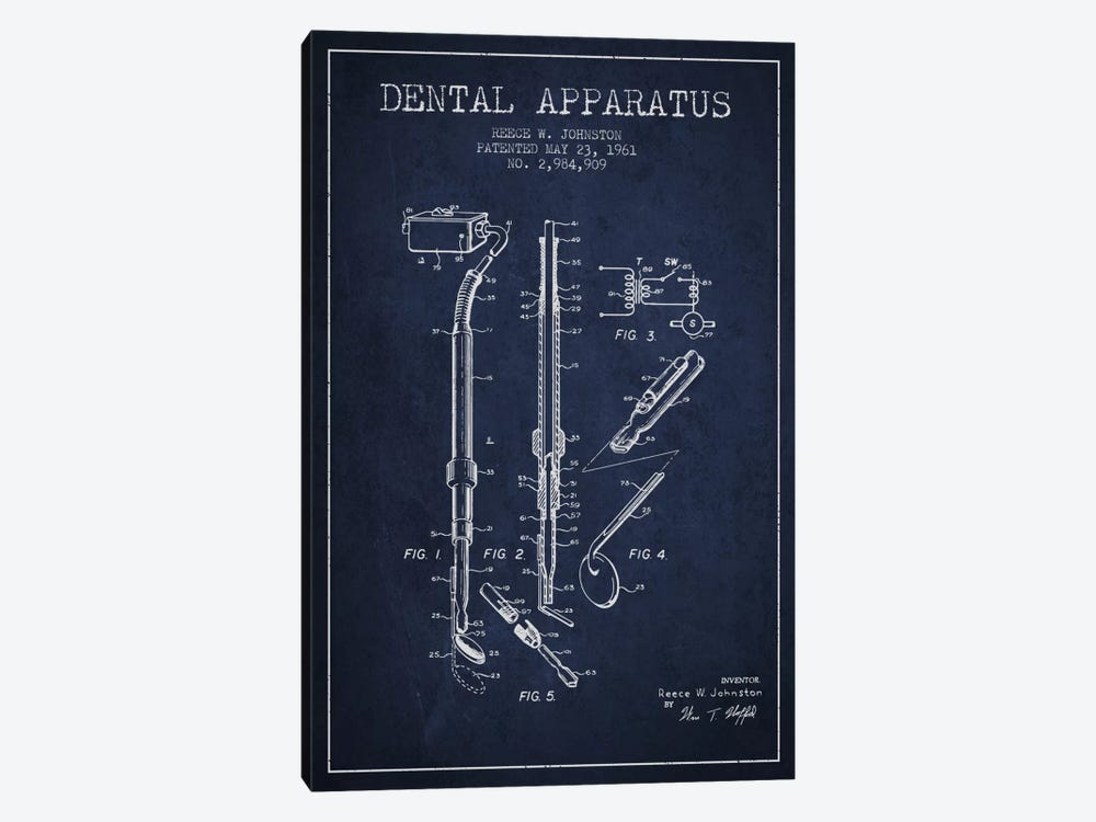 Dental Apparatus Navy Blue Patent Blueprint by Aged Pixel 1-piece Canvas Wall Art