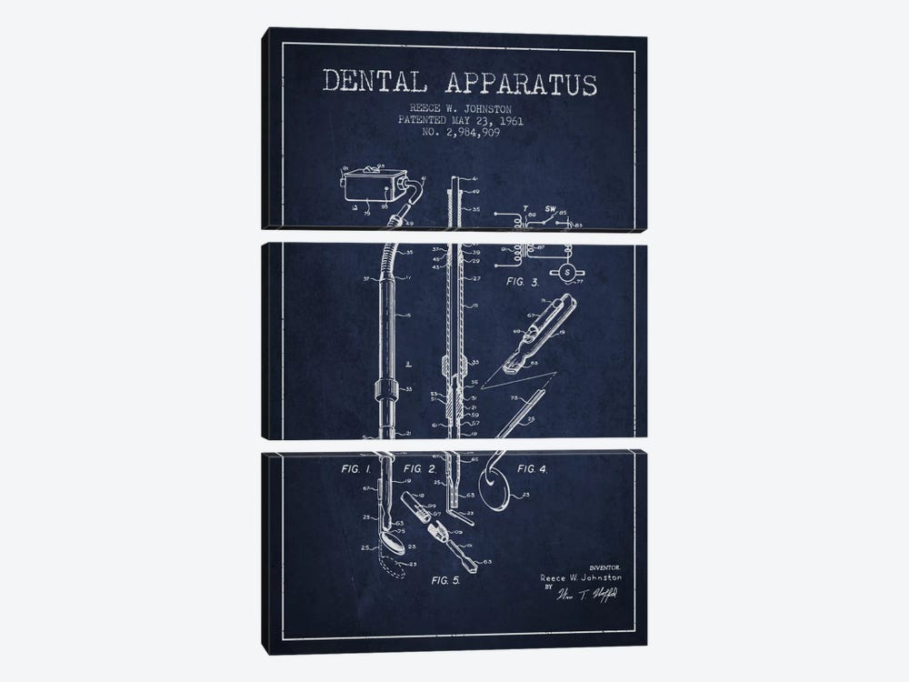 Dental Apparatus Navy Blue Patent Blueprint by Aged Pixel 3-piece Canvas Artwork
