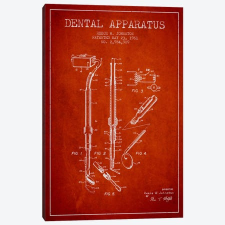 Dental Apparatus Red Patent Blueprint Canvas Print #ADP1587} by Aged Pixel Canvas Wall Art
