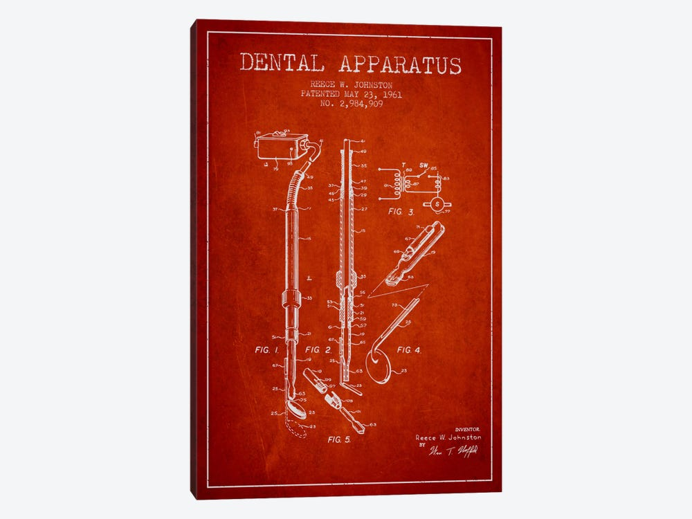 Dental Apparatus Red Patent Blueprint by Aged Pixel 1-piece Art Print