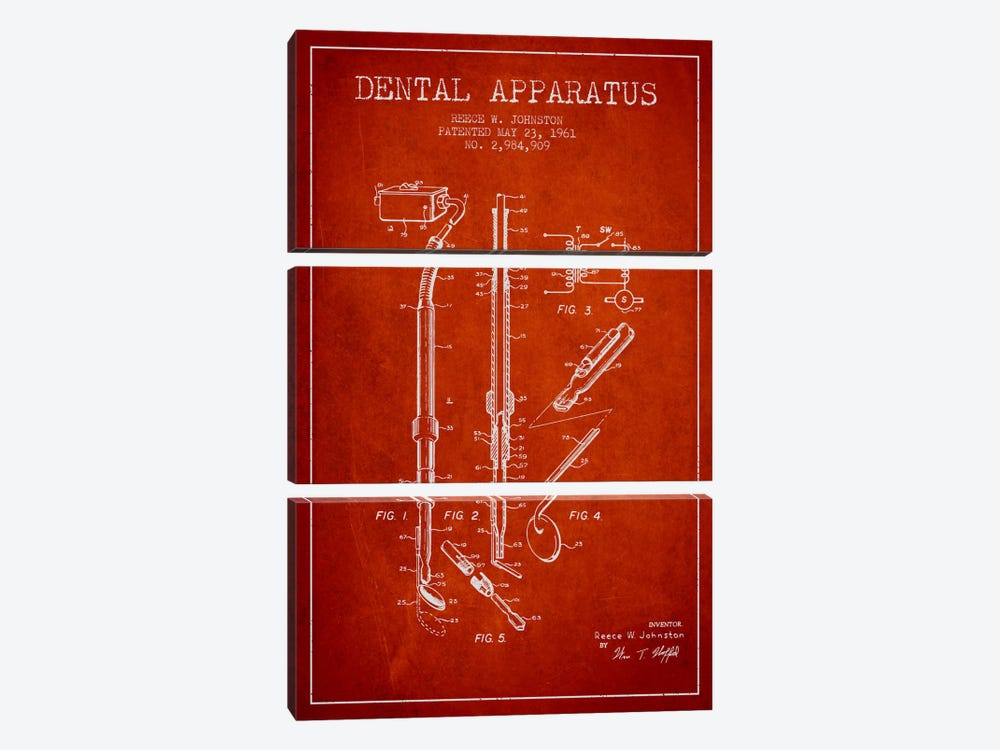 Dental Apparatus Red Patent Blueprint by Aged Pixel 3-piece Art Print