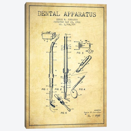 Dental Apparatus Vintage Patent Blueprint Canvas Print #ADP1588} by Aged Pixel Canvas Print